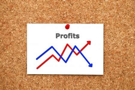 Note chart profits on cork  board Stock Photo - 15523164