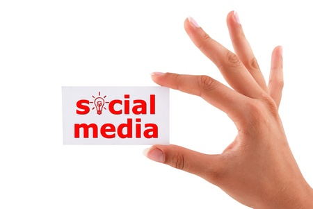 social media card in hand Stock Photo - 15523172