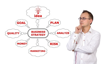 pensive businessman looking at business plan strategy photo