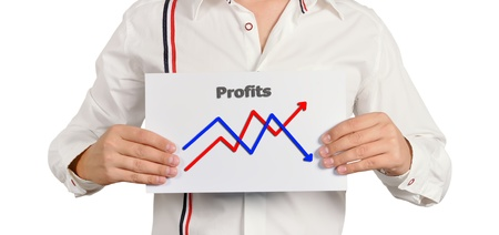 businessman holding a chart of growth Stock Photo - 15466822