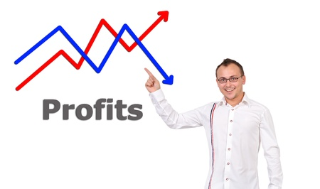 businessman points to growth chart photo