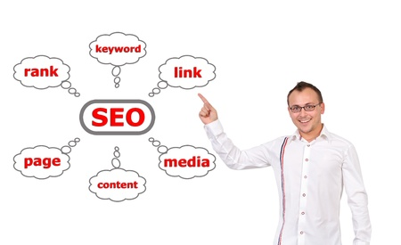 businessman points to chart seo photo