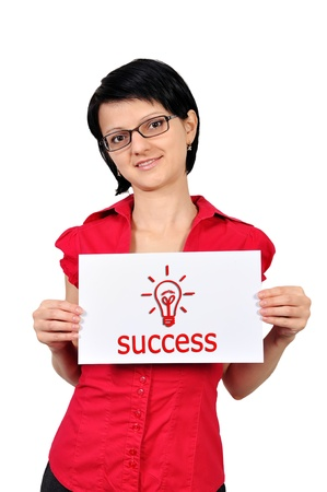 Woman holding a placard success photo