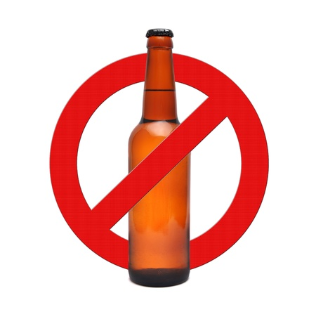 sign stop alcohol on a white background
