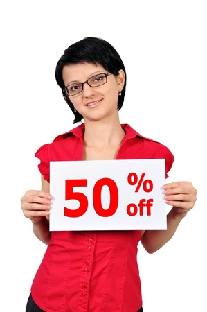selloff: Woman holding a placard sell-off Stock Photo