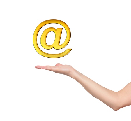 gold email symbol in hand Stock Photo - 15696079