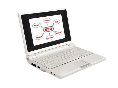 white laptop on white background photo