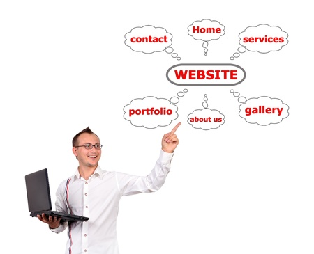 man with a laptop in hand points to website photo