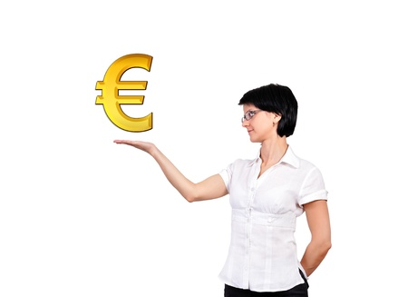 girl with gold euro symbol photo