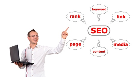 man with a laptop in hand points to seo photo
