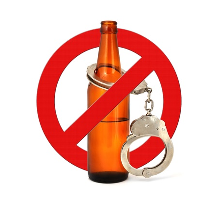 singn: sign stop alcohol on a white background