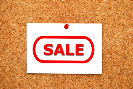note sale on cork board Stock Photo - 15924228