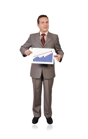 businessman holding a placard with profits Stock Photo - 15896188