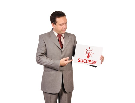 businessman holding a placard with success concept Stock Photo - 15896187