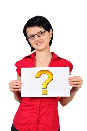 Woman holding a placard question mark symbol photo