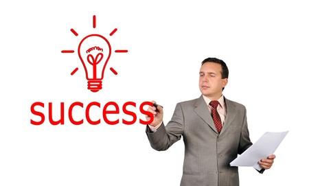 concep: businessman drawing success symbol, idea concep