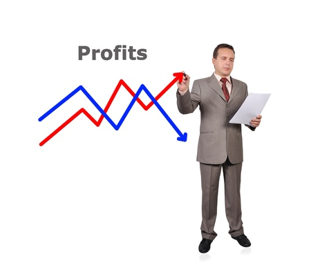 businessman drawing scheme of profits Stock Photo - 15977430