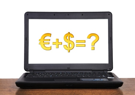 laptop with gold money formula photo