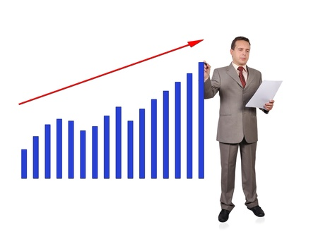 businessman drawing growth of chart Stock Photo - 16116178