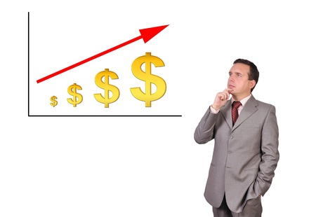 pensive businessman looking at scheme profits dollar Stock Photo - 16116187