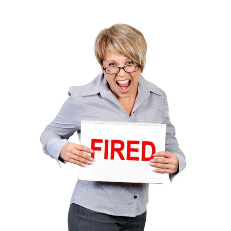 businesswoman holding pster with fired photo