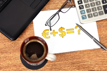 Note money formula on table businessman photo