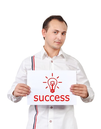 man holding a placard with success concept Stock Photo - 16116171