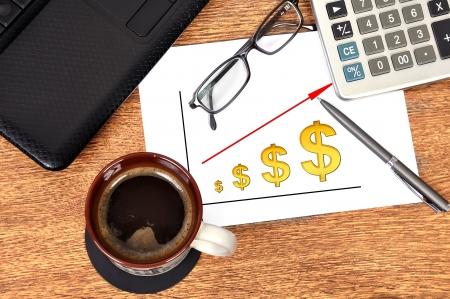 Note scheme profits dollar on table businessman Stock Photo - 16265398