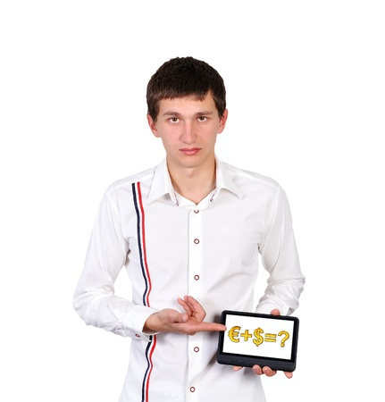 digital tablet with business formula in a hand photo