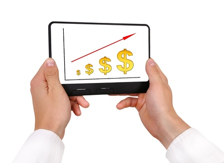 scheme growth dollar on digital tablet Stock Photo - 16265386