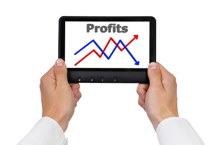 chart growth profits on digital tablet photo