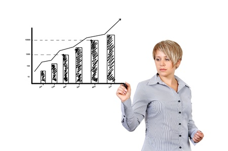 businesswoman drawing graph of business growth photo