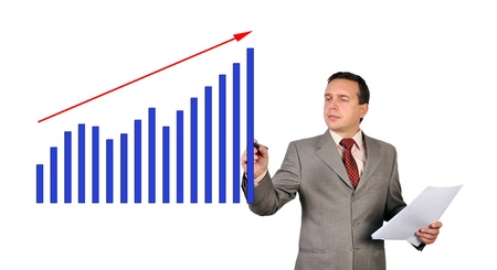 businessman drawing growth of chart photo