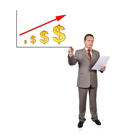businessman drawing scheme growth dollar Stock Photo - 16192657