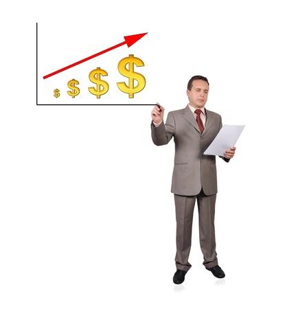 businessman drawing scheme growth dollar Stock Photo - 16192657