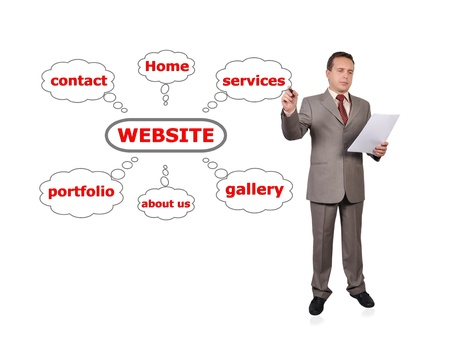 Businessman drawing scheme web site photo