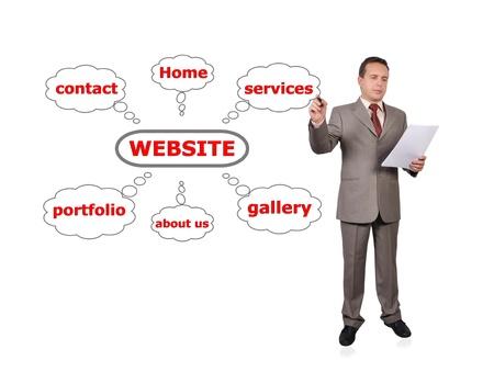 Businessman drawing scheme web site Stock Photo - 16192660