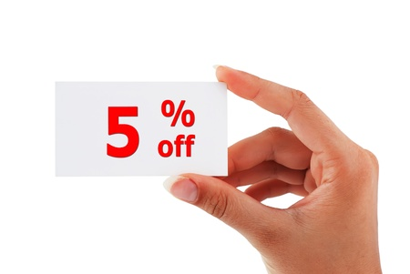 discount of 5 percent in hand Stock Photo - 16265412
