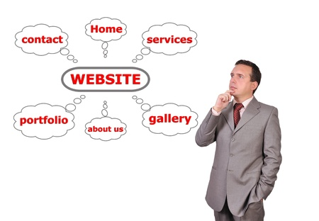businessman looking at scheme website photo