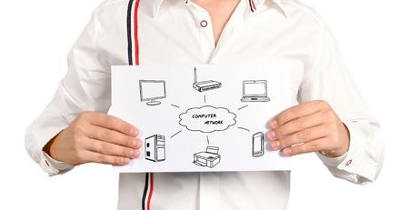 scheme computer network in hand Stock Photo - 16265410