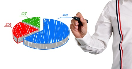 businessman drawing color pie chart photo