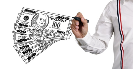 businessman drawing  dollars on white background photo