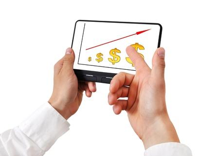 scheme growth dollar on digital tablet Stock Photo - 16402807