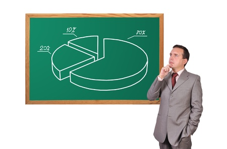 businessman looking at pie chart on desk Stock Photo - 16307794