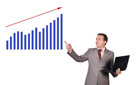 businessman with notebook and growth chart photo
