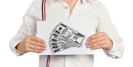 man holding a placard with drawing dollars photo