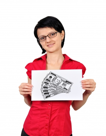 businesswoman holding poster  with drawing money Stock Photo - 16366462
