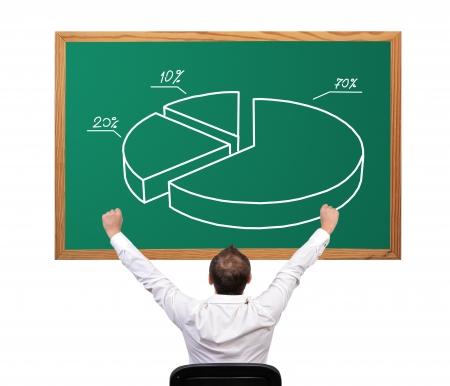 businessman winner and pie chart on desk Stock Photo - 16366432