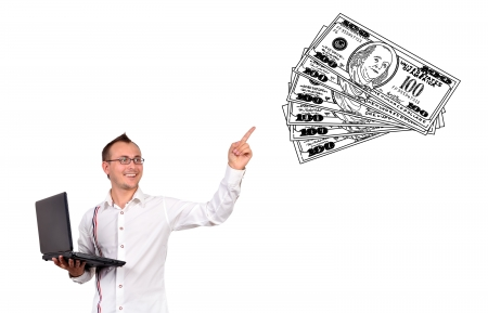 businessman points to drawing money Stock Photo - 16366438