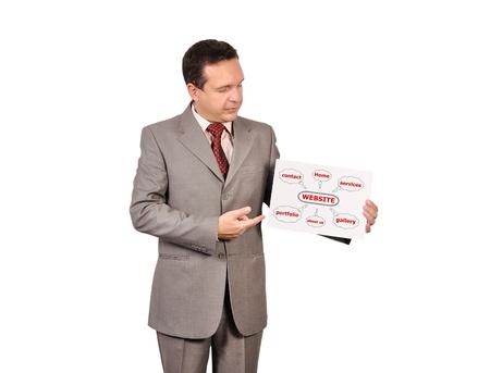 businessman holding in hand  scheme website Stock Photo - 16472574